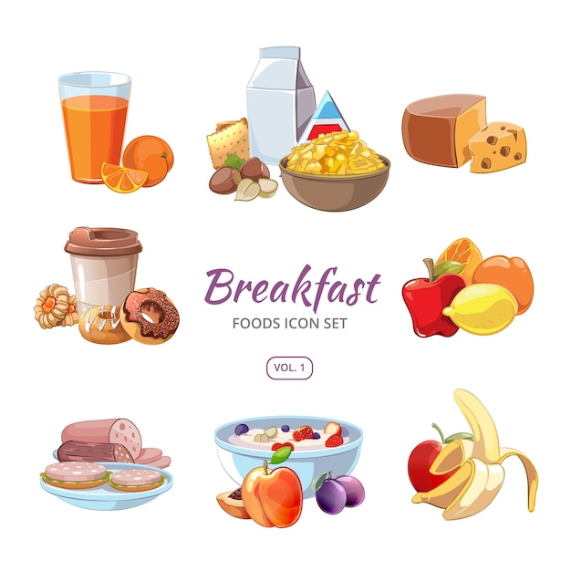 Breakfast food icons in cartoon style. lunch coffee, orange and morning nutrition, delicious fruit fresh, vector illustration Free Vector