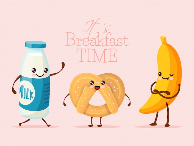 Breakfast funny cartoon character, banana fruit, sweet cookie biscuit and milk glass bottle   illustration. drawn person hold hand. Premium Vector