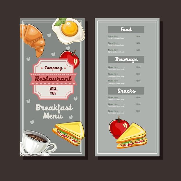 朝食の手描きのメニューテンプレート Premiumベクター