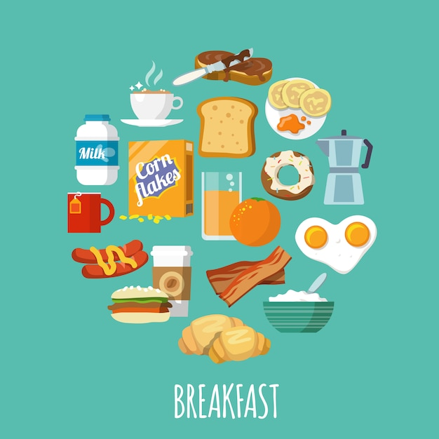 Breakfast icon flat Free Vector