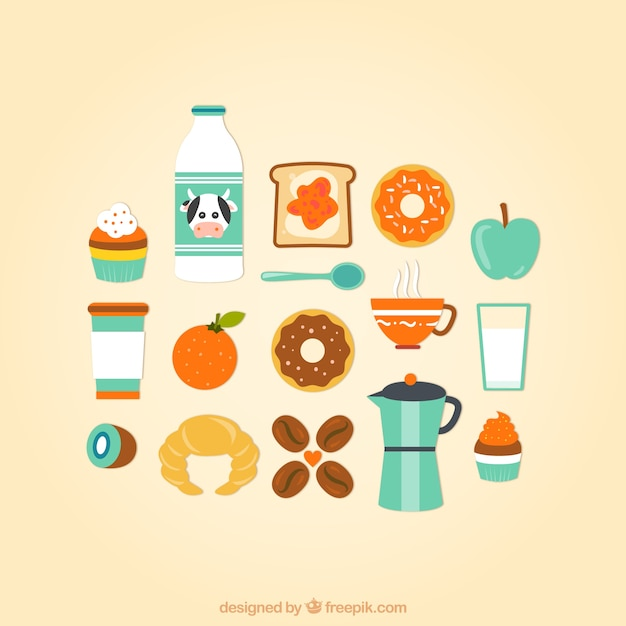 Breakfast icons collection Free Vector