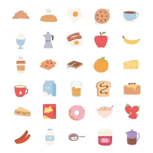 Breakfast icons set, croissant bread juice fruits sandwich milk pancakes illustration Premium Vector