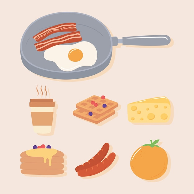 Breakfast icons set, fried egg and bacon in saucepan, coffee sausage orange pancakes illustration Premium Vector