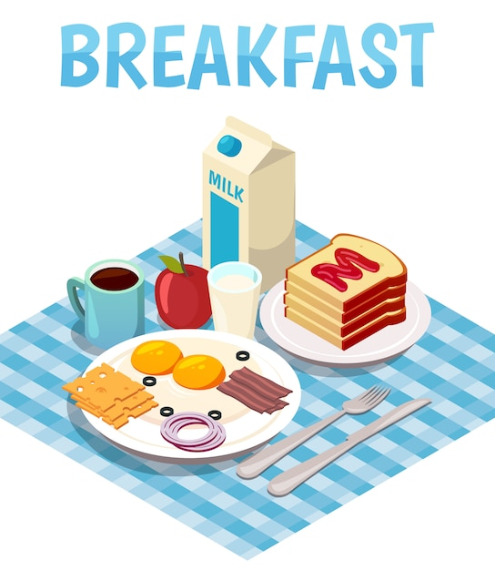 Breakfast isometric Free Vector