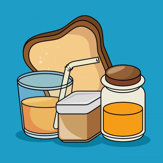 Breakfast juice bread honey icons Free Vector