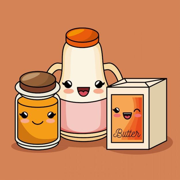 Breakfast kawaii cute juice butter honey Free Vector