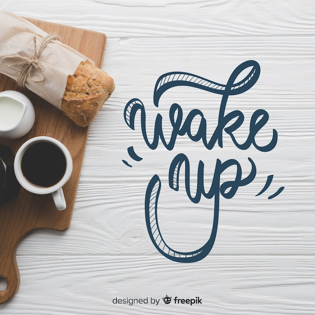 Breakfast lettering background with photo Free Vector