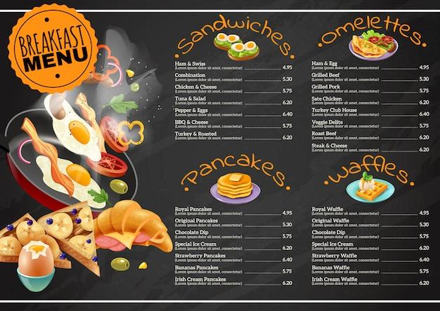 Breakfast menu on chalkboard Free Vector