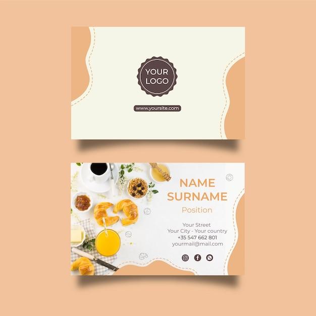 Breakfast menu horizontal business card Free Vector