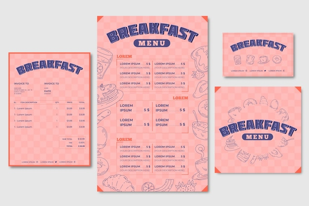 Breakfast menu template and business card Free Vector