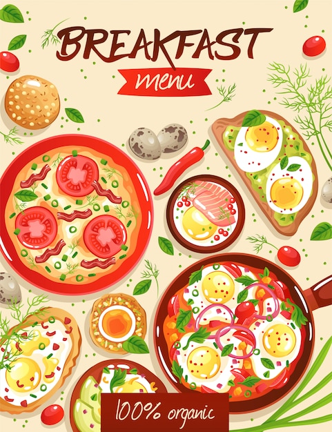 Breakfast menu template with various egg dishes on beige flat illustration Free Vector