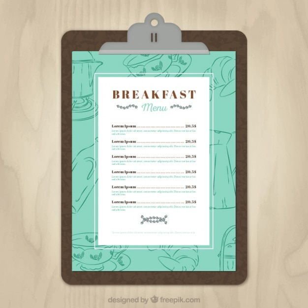 breakfast menu template vector free download