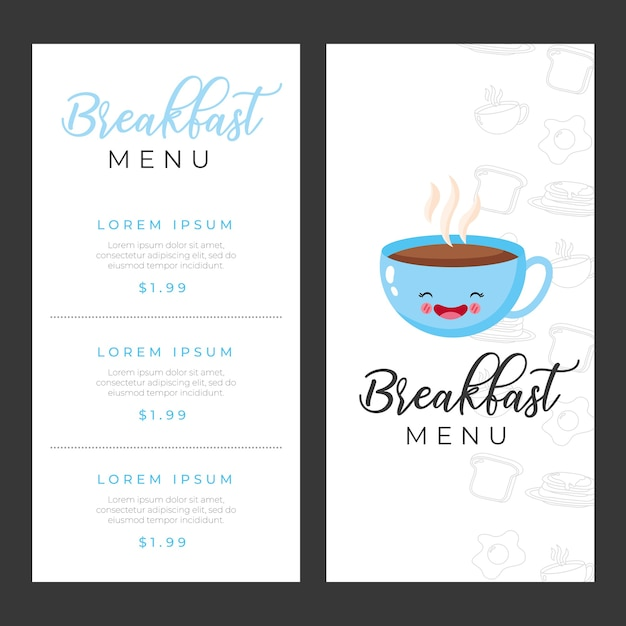 Breakfast menu templates with coffee cup cartoon illustration Premium Vector