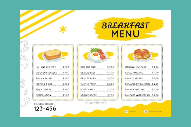 Шаблон меню завтрака Бесплатные векторы