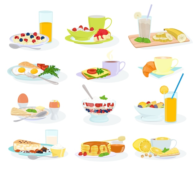 Breakfast morning food healthy meal egg cereal cake and pancake with orange juice and coffee illustration set of breakfast table in hotel restaurant isolated on white background Premium Vector