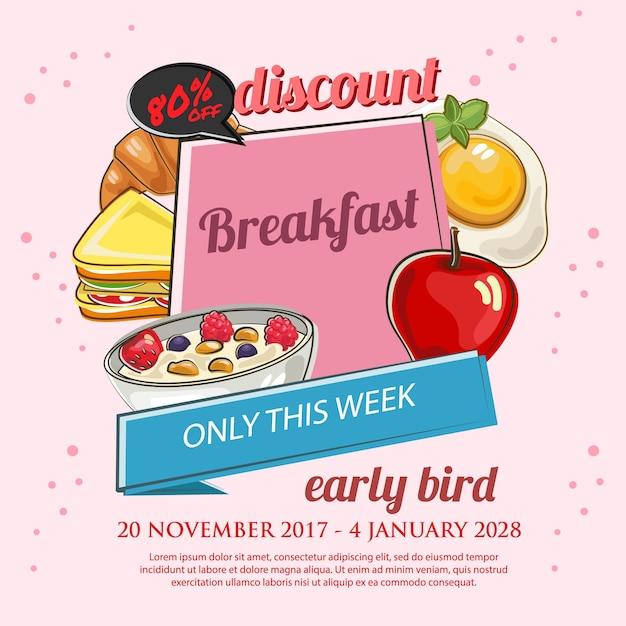 朝食プロモーションポスター Premiumベクター