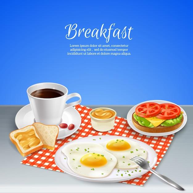 朝食の現実的なセット 無料ベクター