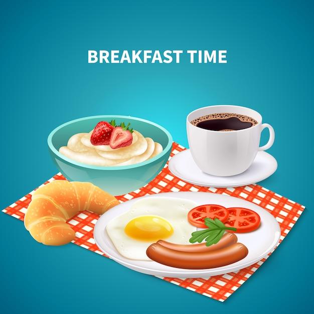 Breakfast realistic Free Vector