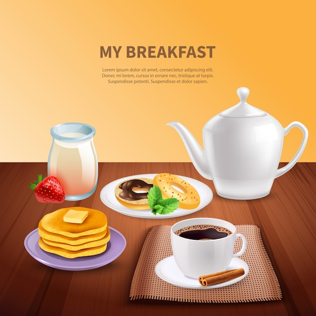 Breakfast realistic Free Vector
