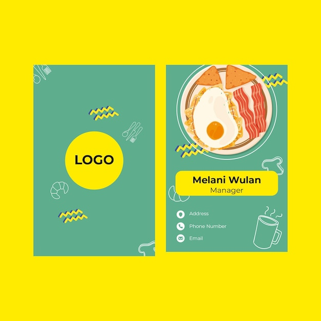 Breakfast restaurant double sided card Free Vector