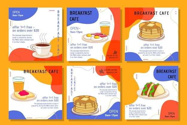 Breakfast restaurant instagram posts Free Vector