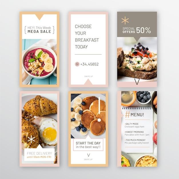 Raccolta di storie di instagram del ristorante per la colazione Vettore gratuito