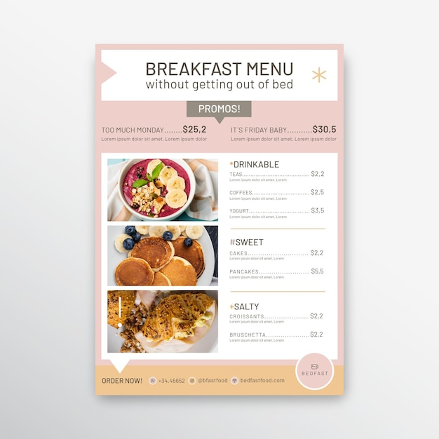 Breakfast restaurant menu template Free Vector