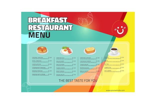 Меню ресторана для завтрака Бесплатные векторы