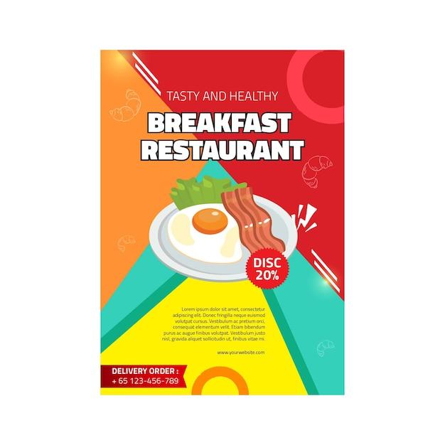 Breakfast restaurant poster Free Vector