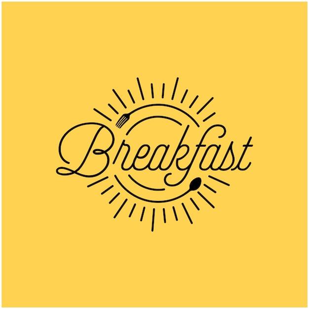 Breakfast restaurant with sunrise spoon fork hipster vintage retro typography logo design Premium Vector