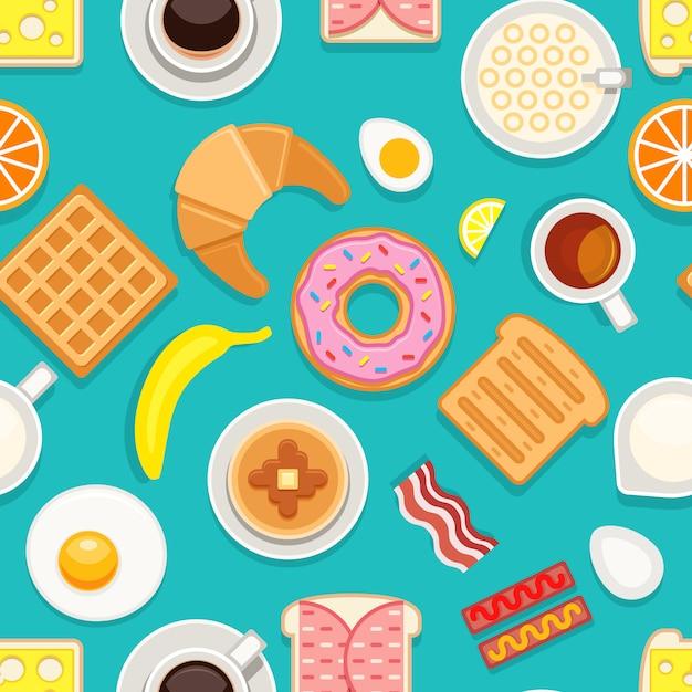Breakfast seamless pattern Premium Vector