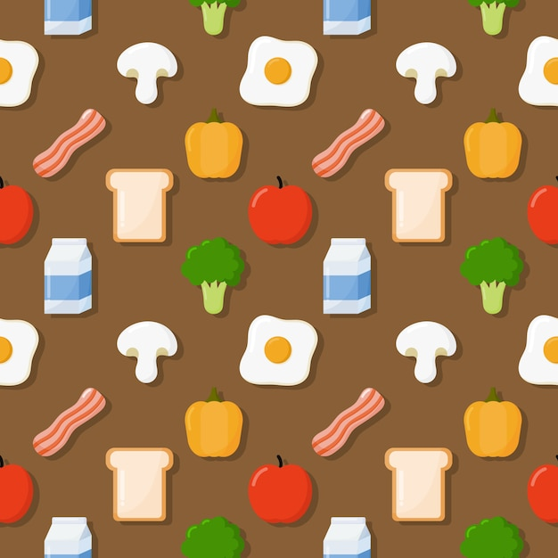 Breakfast seamless pattern Premium Vector