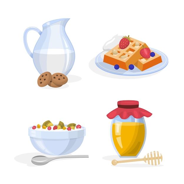 朝食セット。健康的な食事のコレクション。卵 Premiumベクター