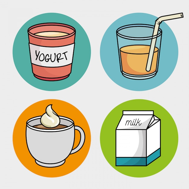 Breakfast set cup coffee yogurt milk juice Free Vector