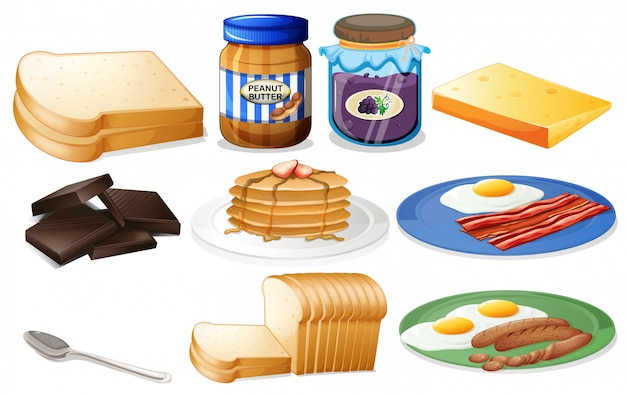 Breakfast set with bread and jam Free Vector
