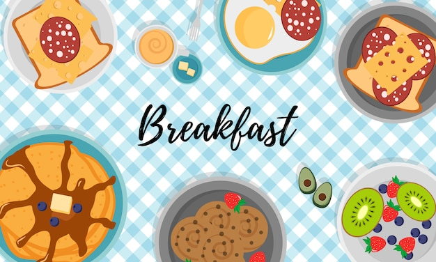 Breakfast set with fruits bacon and eggs, parsley, toast with sausage and cheese. breakfast concept with fresh food, top view. meal time.   illustration in flat design,  . Premium Vector