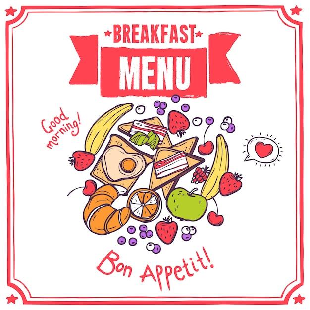 Breakfast sketch menu Free Vector