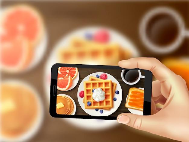 Immagine superiore realistica della foto dello smartphone della prima colazione Vettore gratuito