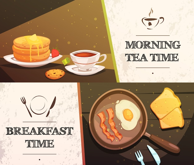 Breakfast time and morning tea two flat horizontal banners Free Vector