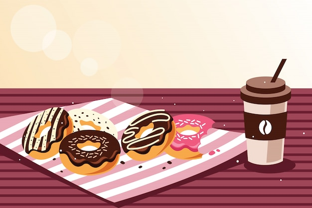 Breakfast with donuts and coffee Premium Vector