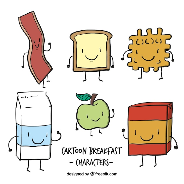 Free Download: food,hand,cartoon,hand drawn,fruit,milk,vegetables,fruits,apple,drawing,breakfast,eat,morning,eating,characters,cartoon characters,toast,drawn,lovely,waffle