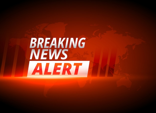 Breaking news alert background in red theme Free Vector