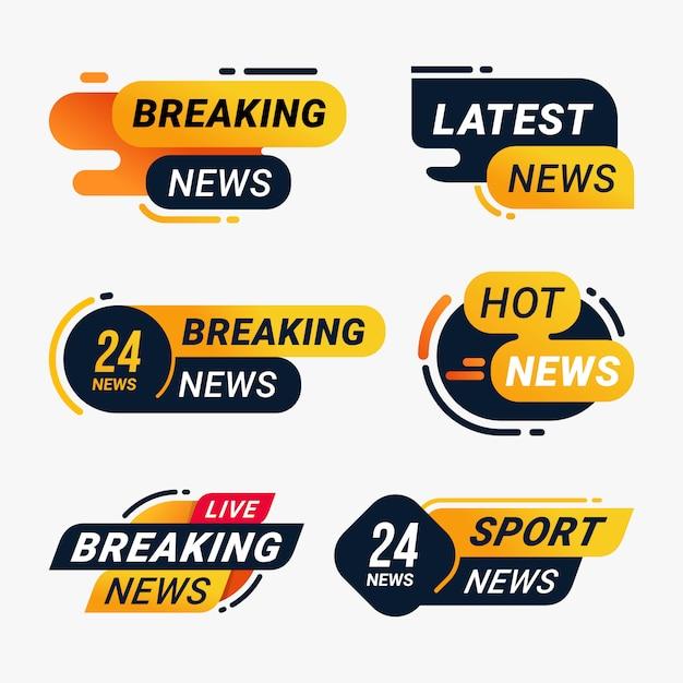 Breaking news badge message information template set Premium Vector