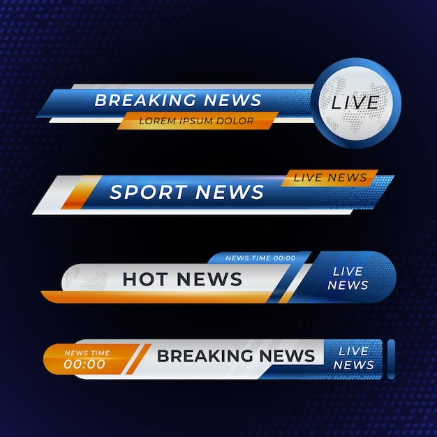 Breaking news banners collection Free Vector