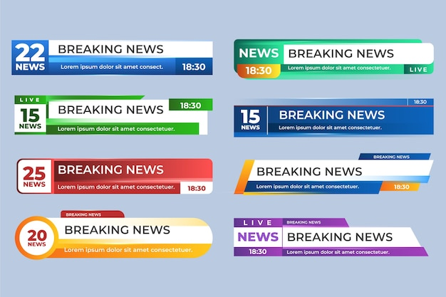 Breaking news banners design Free Vector