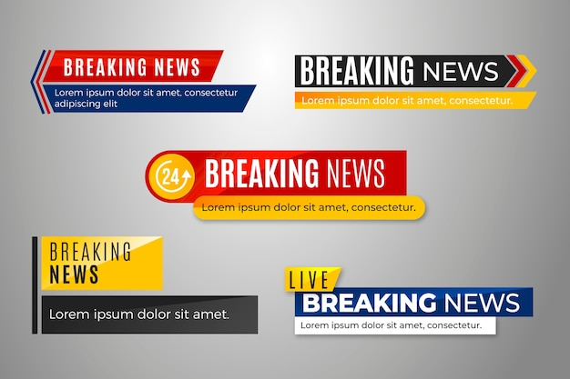 Breaking news banners set Free Vector