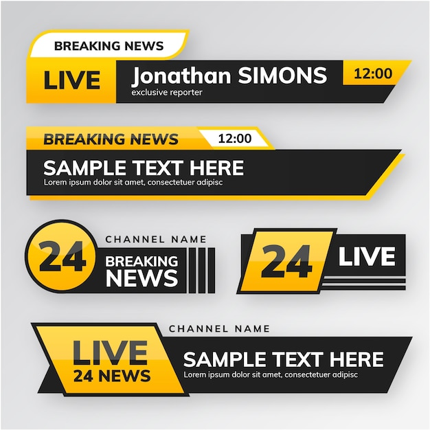 Breaking news banners style Free Vector