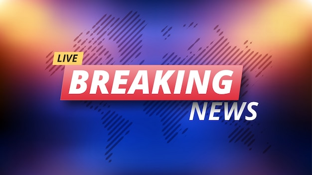 Breaking News Live Banner On Colorful Background Premium Vector