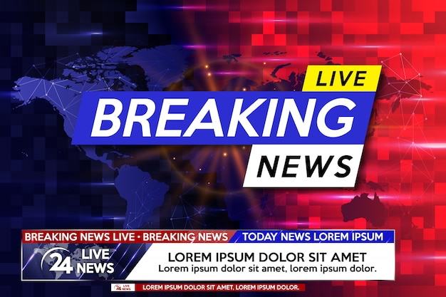 Breaking news live on world map. Premium Vector