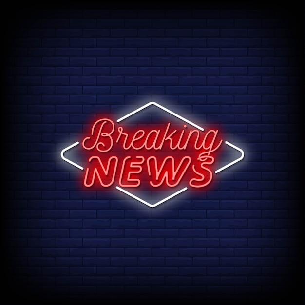 Breaking news neon signs Premium Vector